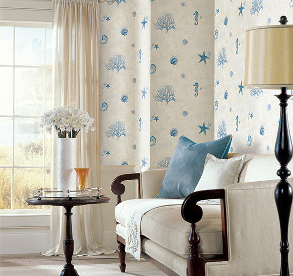 Blue Seashells Wallpaper from the Seaside Living Collection by Brewster Home Fashions