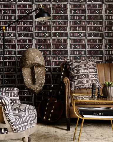 Bogolanfini Wallpaper in Black from the Wallpaper Compendium Collection by Mind the Gap by Ferm Living
