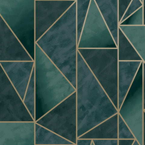 Sample Bohemian Metallic Triangles Wallpaper in Green and Gold by Walls Republic
