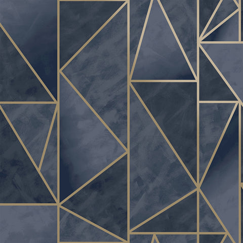 Sample Bohemian Metallic Triangles Wallpaper in Navy and Gold by Walls Republic