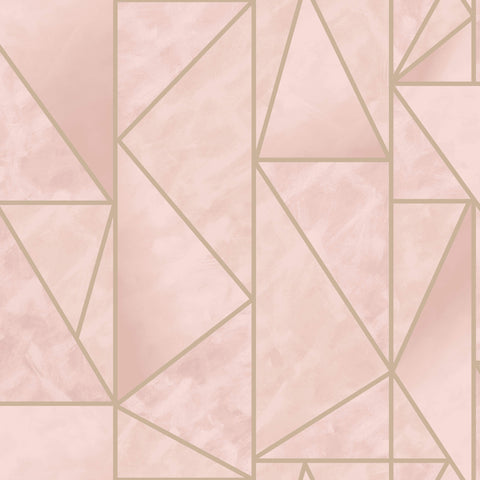 Sample Bohemian Metallic Triangles Wallpaper in Pink and Gold by Walls Republic