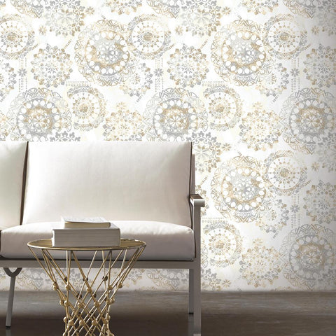 Bohemian Peel & Stick Wallpaper in Tan and Blue by RoomMates for York Wallcoverings