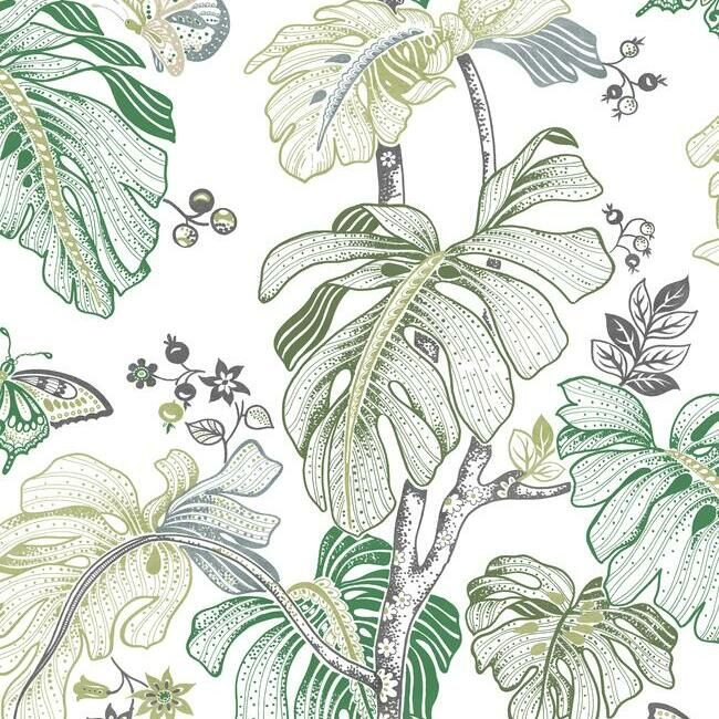 Sample Boho Palm Peel & Stick Wallpaper in Green by RoomMates for York Wallcoverings