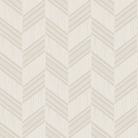 Boho Chevron Stripe Stringcloth Wallpaper in Cinder Grey and Ivory from the Boho Rhapsody Collection by Seabrook Wallcoverings