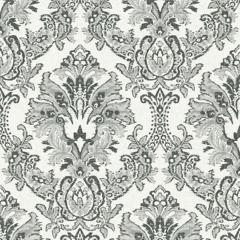 Bold Brocade Wallpaper in Black from the Impressionist Collection by York Wallcoverings