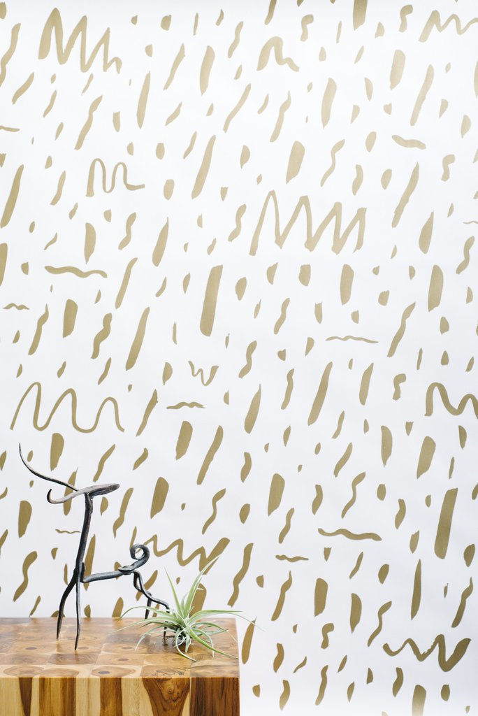 Bomba Wallpaper in Gold on Cream design by Juju