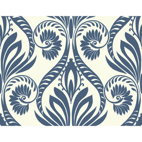 Bonaire Damask Wallpaper in Blue from the Tortuga Collection by Seabrook Wallcoverings