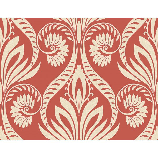Bonaire Damask Wallpaper in Deep Orange from the Tortuga Collection by Seabrook Wallcoverings