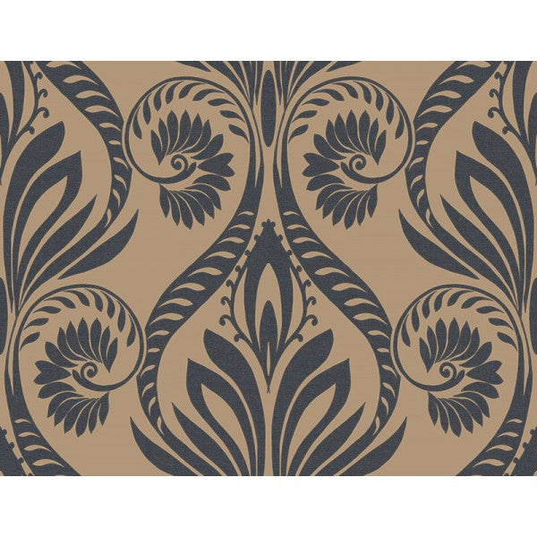Sample Bonaire Damask Wallpaper in Gold and Black from the Tortuga Collection by Seabrook Wallcoverings