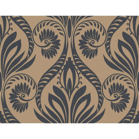 Bonaire Damask Wallpaper in Gold and Black from the Tortuga Collection by Seabrook Wallcoverings