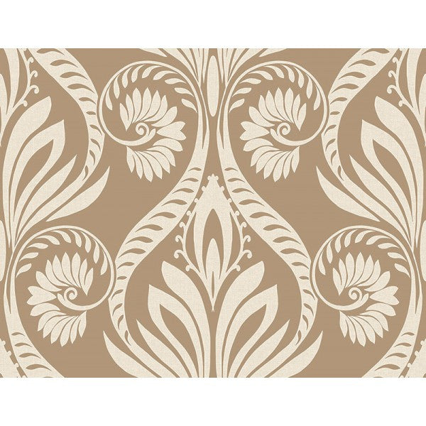 Sample Bonaire Damask Wallpaper In Gold And Cream From The Tortuga