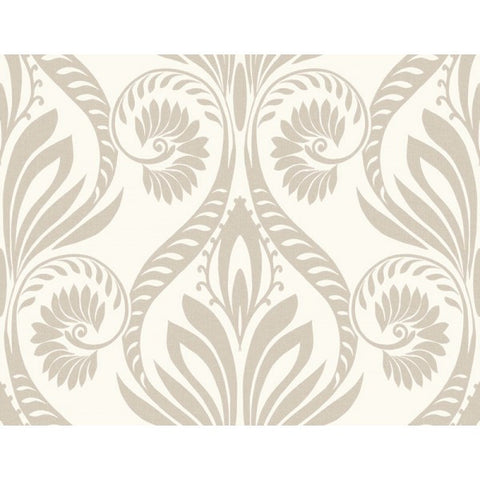 Bonaire Damask Wallpaper in Silver and Ivory from the Tortuga Collection by Seabrook Wallcoverings