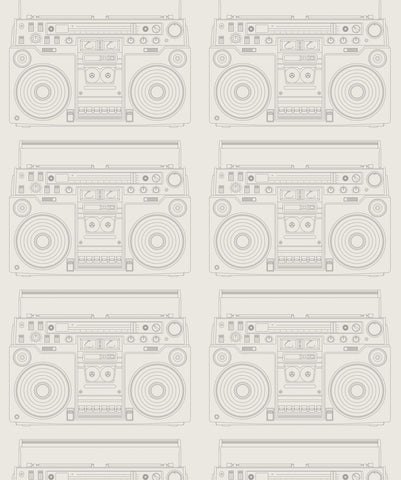 Boom Box Wallpaper in Retro from the Muffin & Mani Collection by Milton & King