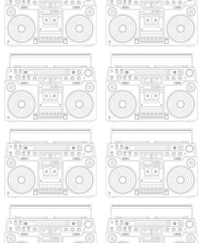 Boom Box Wallpaper in White from the Muffin & Mani Collection by Milton & King