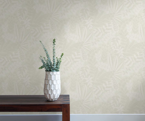 Botanica Striped Leaves Wallpaper in Grey Mist and Ivory from the Boho Rhapsody Collection by Seabrook Wallcoverings