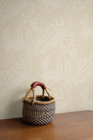Botanica Striped Leaves Wallpaper in Sand Dune and Ivory from the Boho Rhapsody Collection by Seabrook Wallcoverings