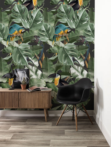 Botanical Birds Wallpaper in Black by KEK Amsterdam