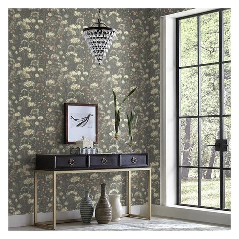 Botanical Fantasy Wallpaper in Black from the Botanical Dreams Collection by Candice Olson for York Wallcoverings