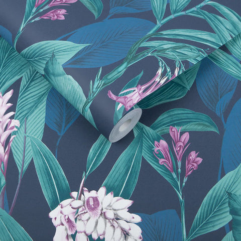 Botanical Wallpaper in Midnight from the Exclusives Collection by Graham & Brown