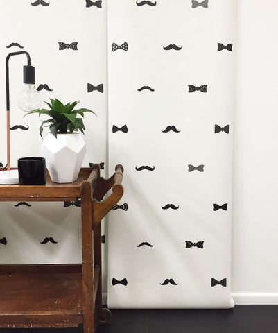 Bow Ties & Mustaches Wallpaper from the Muffin & Mani Collection by Milton & King
