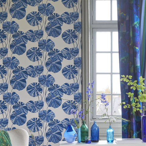Brahmi Wallpaper in Cobalt from the Zardozi Collection by Designers Guild
