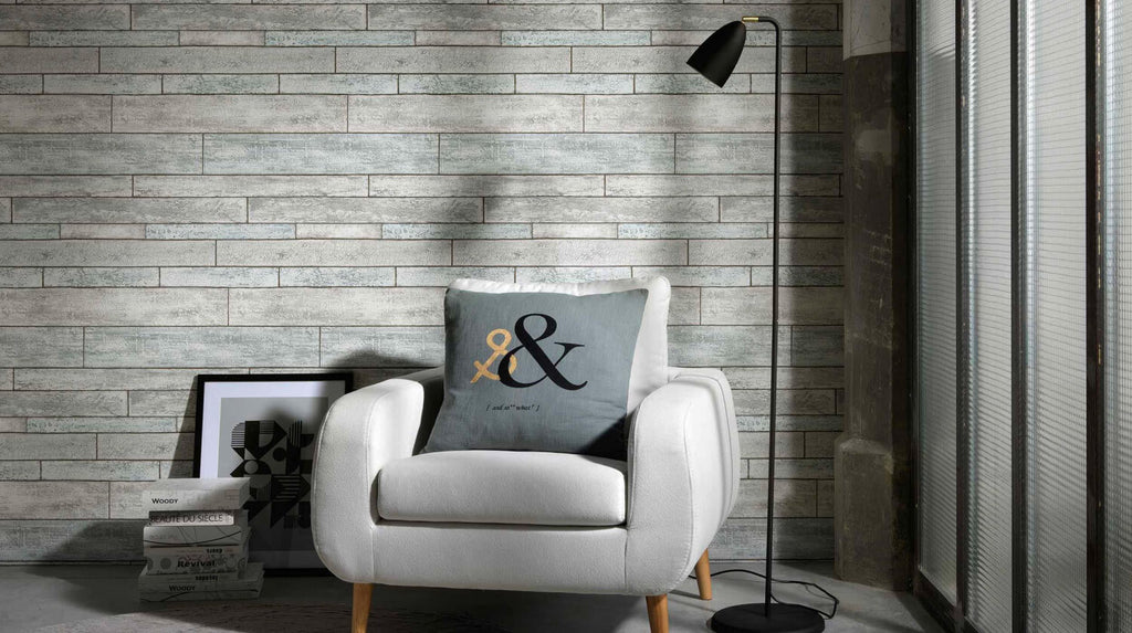 Bram Faux Wood Wallpaper In Grey, Green, And Blue Design