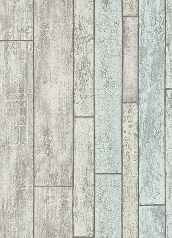 Bram Faux Wood Wallpaper in Grey, Green, and Blue design by BD Wall