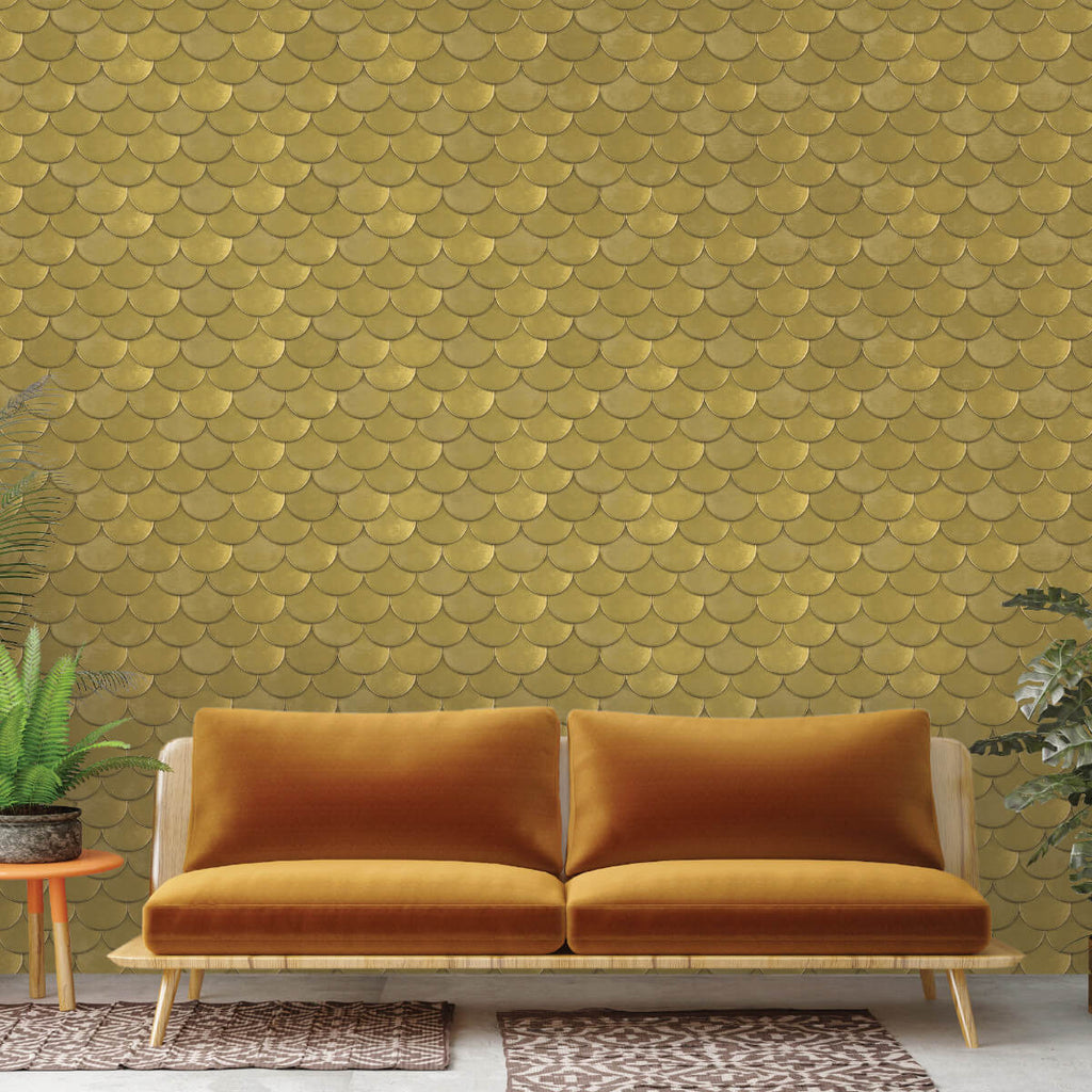 Brass Belly Self Adhesive Wallpaper in Old World Brass Metallic by Genevieve Gorder for Tempaper