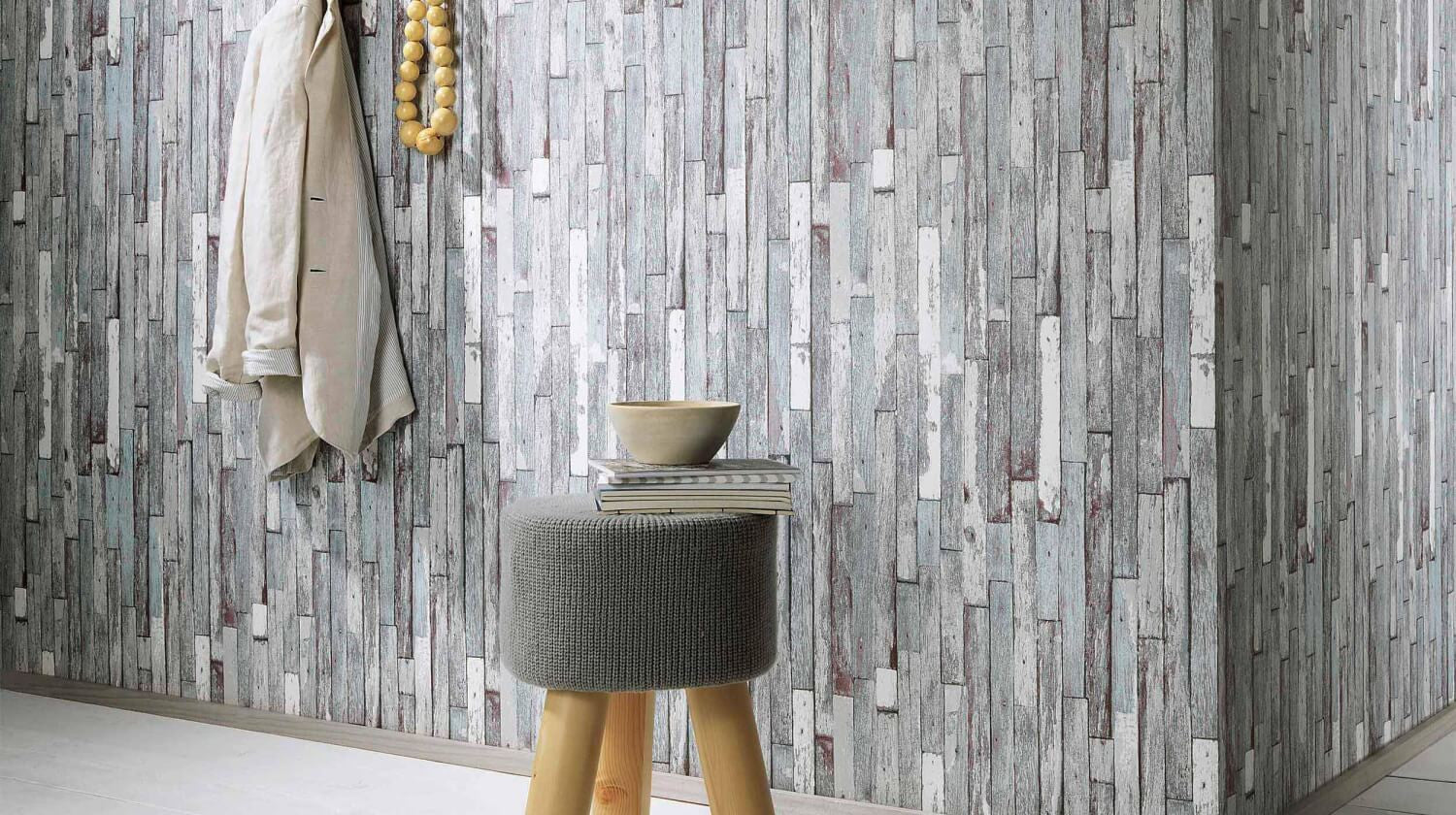 Brecken faux wood plank wallpaper in grey and brown design - Faux wood plank wallpaper ...