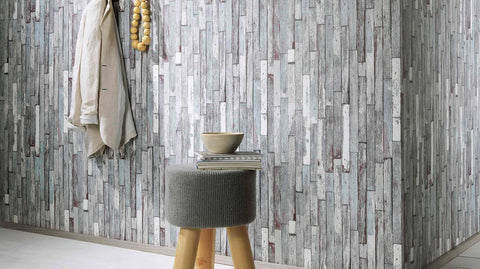 Brecken Faux Wood Plank Wallpaper in Grey and Brown design by BD Wall