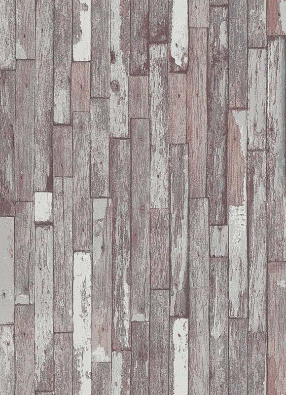 Sample Brecken Faux Wood Plank Wallpaper in Grey and Brown design by BD Wall