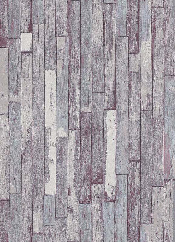 Brecken Faux Wood Plank Wallpaper in Grey and Violet design by BD Wall
