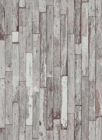 Brecken Faux Wood Plank Wallpaper in Taupe and Grey design by BD Wall