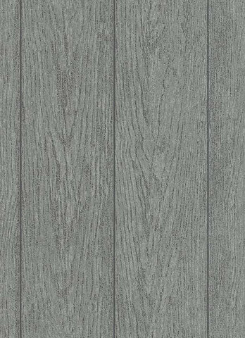 Brennan Faux Wood Wallpaper in Grey and Black design by BD Wall