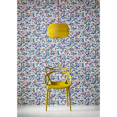 Brian Eno Flower Mask Wallpaper in Blue from the Exclusives Collection by Graham & Brown