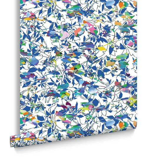 Sample Brian Eno Flower Mask Wallpaper in Blue from the Exclusives Collection by Graham & Brown