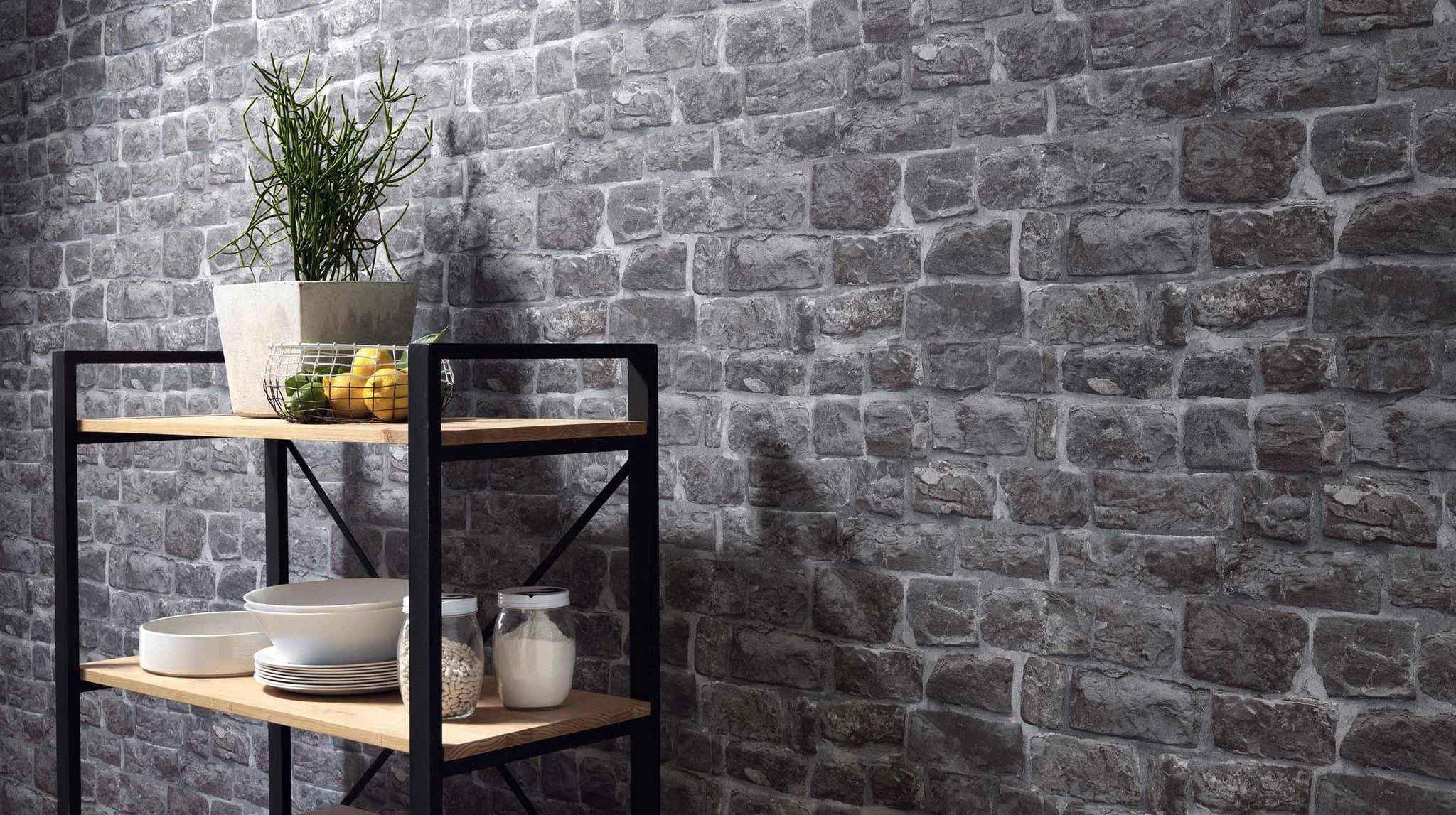 Briana faux brick wallpaper in grey design by bd wall