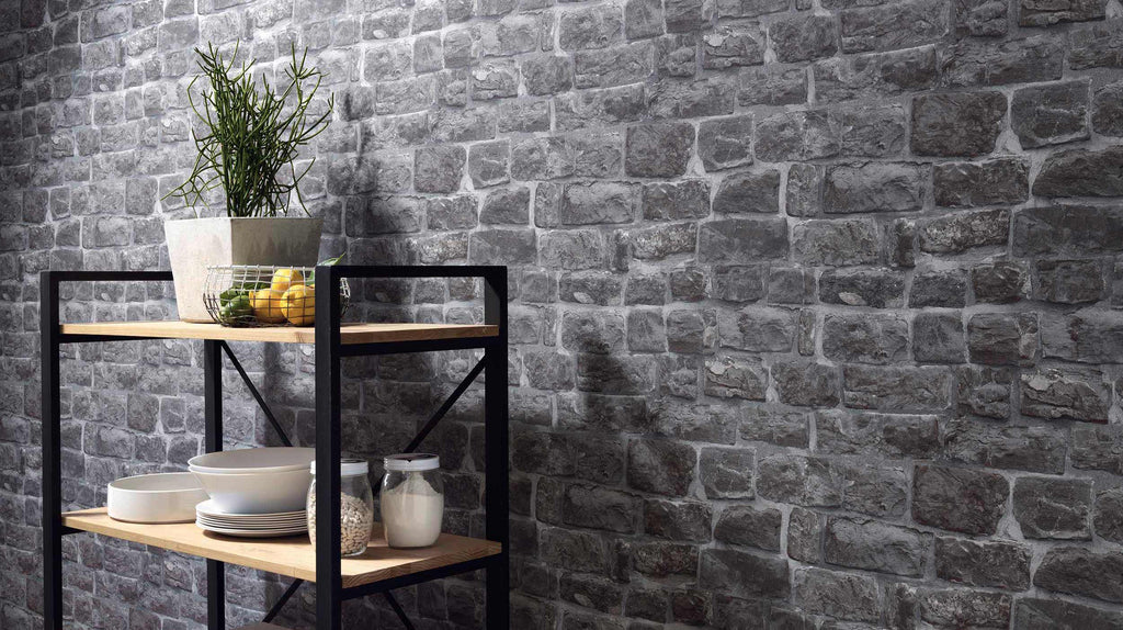 Briana Faux Brick Wallpaper in Grey and Black design by BD Wall