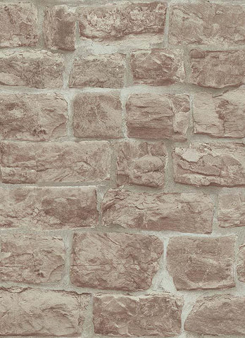 Briana Faux Brick Wallpaper in Beige and Brown design by BD Wall