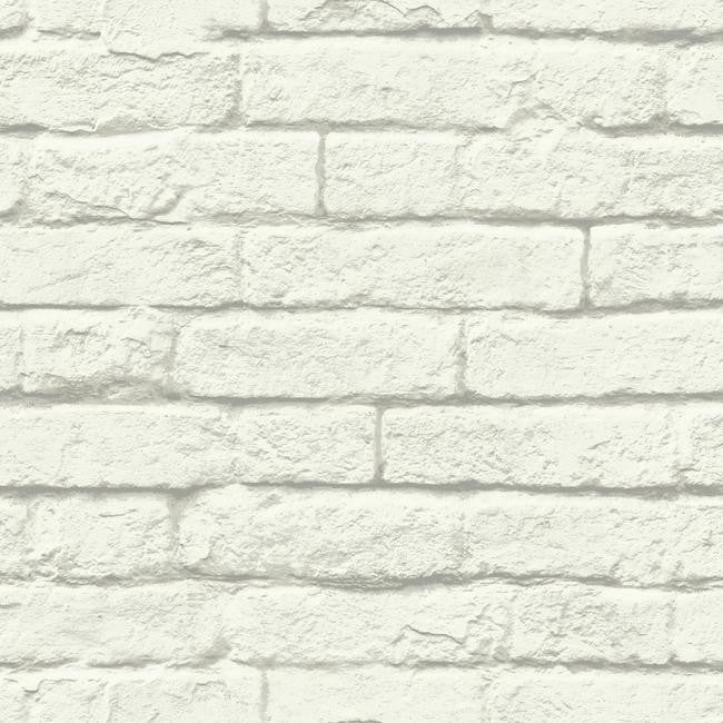 Sample Brick-And-Mortar Wallpaper in Soft Grey from the Magnolia Home Collection by Joanna Gaines
