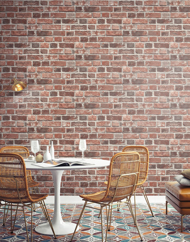 Brick Peel and Stick Wallpaper in Red from the Transform Collection by Graham & Brown