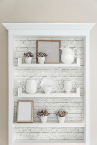 Brick Peel and Stick Wallpaper in White from the Transform Collection by Graham & Brown