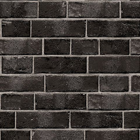 Brick Self-Adhesive Wallpaper (Single Roll) in Ebony by Tempaper