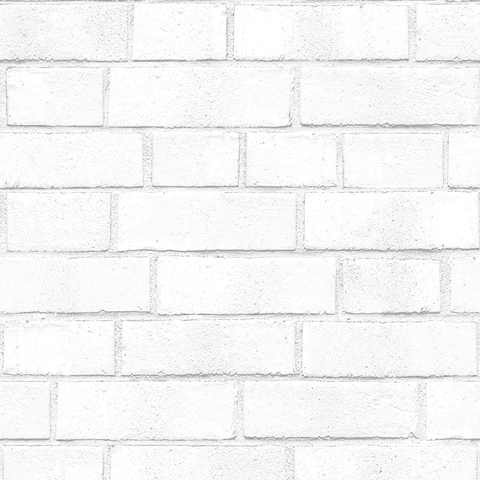 Brick Self-Adhesive Wallpaper (Single Roll) in White by Tempaper