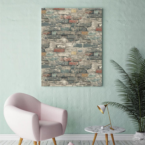 Brick Alley Peel & Stick Wallpaper in Blue by RoomMates for York Wallcoverings