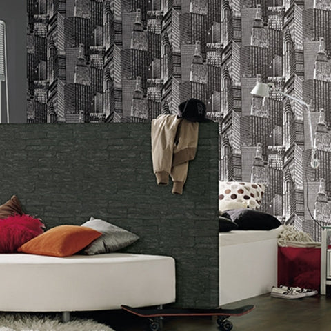 Brick Wallpaper in Black design by BD Wall