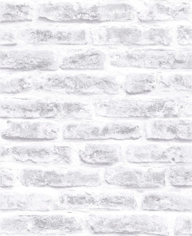 Brick Wallpaper in White from the Strata Collection by Graham & Brown