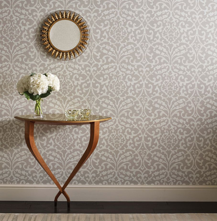 Brideshead Damask Wallpaper in Grey from the Ashdown Collection by Nina Campbell for Osborne & Little