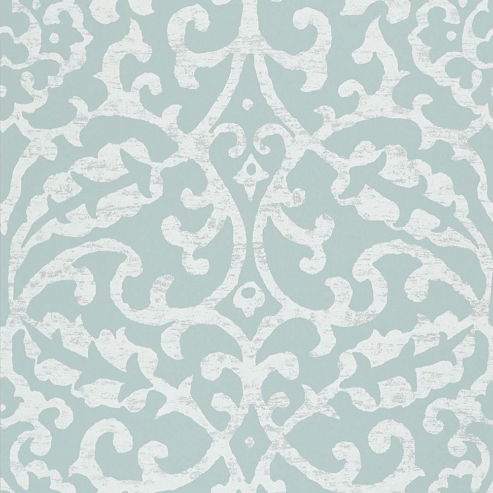 Brideshead Damask Wallpaper in Aqua from the Ashdown Collection by Nina Campbell for Osborne & Little