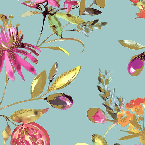 Sample Bright Teal Blossoms Wallpaper by Walls Republic